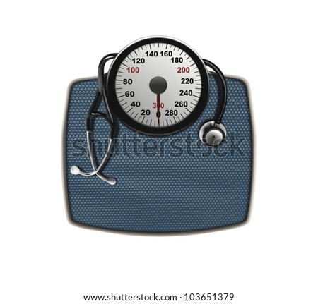 stethoscope on weighing scales - stock photo