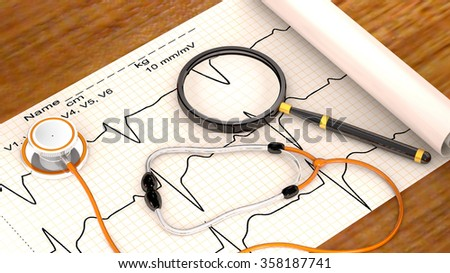 Stethoscope, paper, cardiogram and magnifier are on the hospital table - stock photo