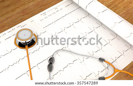 Stethoscope, paper, cardiogram are on the hospital table - stock photo