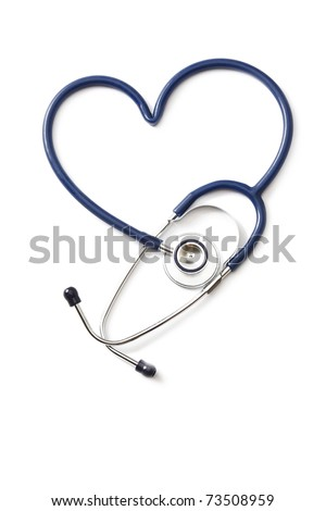 Stethoscope shaping a heart, from above - stock photo