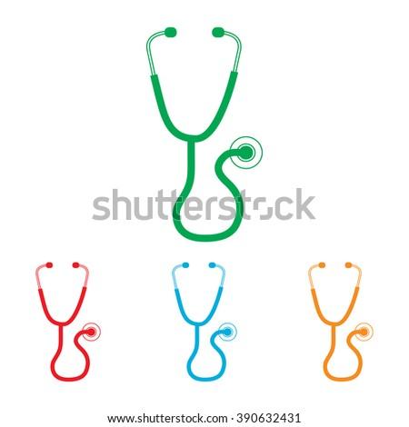Stethoscope sign. Colorfull set isolated on white background - stock photo