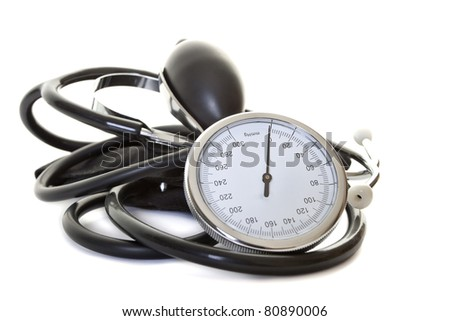 stethoscope to measure blood pressure - stock photo