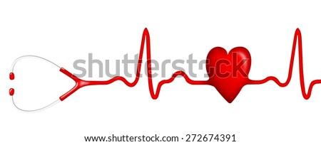 Stethoscope with a shape of heart - stock photo