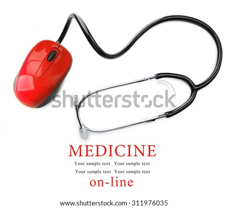 Stethoscope with computer mouse isolated on white. Medical online concept