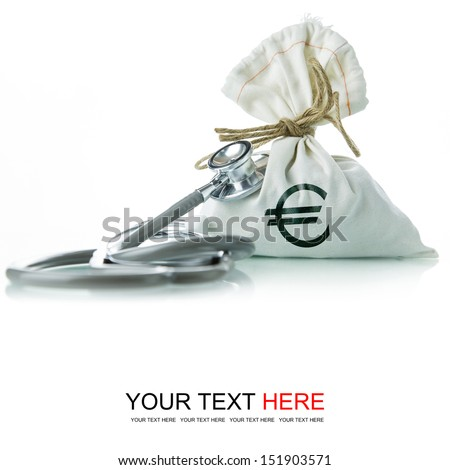 Stethoscope with EURO money bag, The concept of financial diagnosis - stock photo