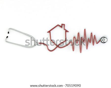 stethoscope with home shape isolated on white background - stock photo
