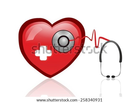 Stethoscope with medical heart - stock photo