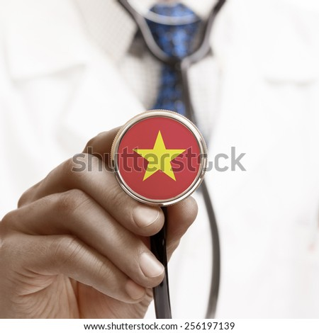 Stethoscope with national flag conceptual series - Vietnam - stock photo