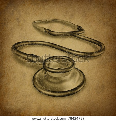 stethoscope with old vintage grunge texture representing health care and medical doctor tool for diagnosis.