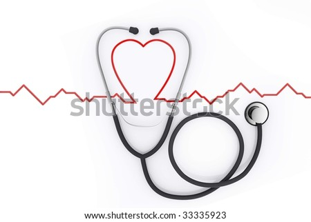 Stethoscope with red heart beat - stock photo