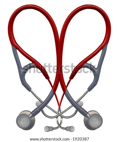 Stethoscopes overlaid in the shape of a heart - stock photo
