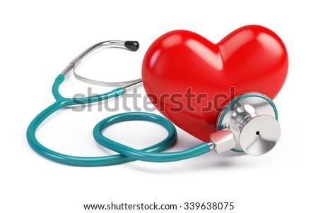 stetoscope and heart - stock photo