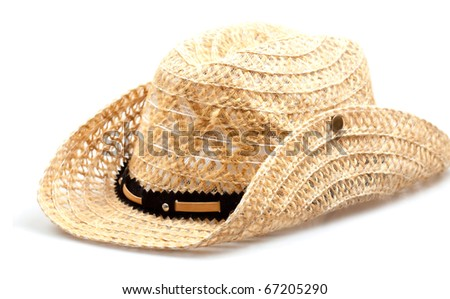 Stetson, straw hat  of cowboy isolated on white background - stock photo