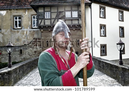 STETTENFELS, GERMANY - APRIL 30: Medieval knights at the Castle Stettenfels on April 30, 2012 in Stettenfels, Germany. - stock photo