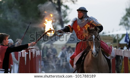 STETTENFELS, GERMANY - APRIL 30: Medieval knights used in battle, tournament at the Castle Stettenfels on April 30, 2012 in Stettenfels, Germany. - stock photo