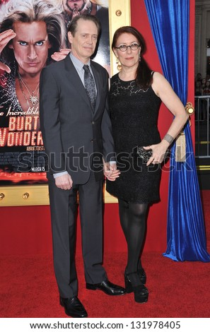 "Steve Buscemi & wife at the world premiere of his movie ""The Incredible Burt Wonderstone"" at the Chinese Theatre, Hollywood. March 11, 2013  Los Angeles, CA Picture: Paul Smith - stock photo"