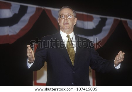 Steve Forbes addressing the New Hampshire Presidential Candidates Youth Forum, January 2000 - stock photo