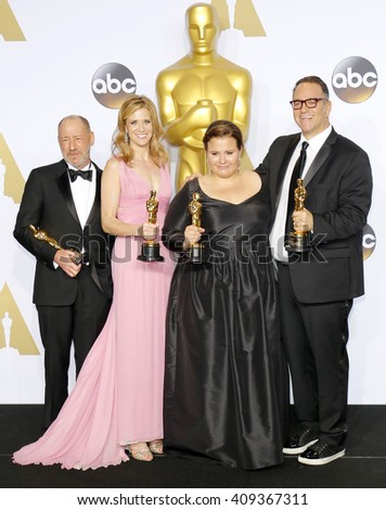 Steve Golin, Blye Pagon Faust, Nicole Rocklin and Michael Sugar at the 88th Annual Academy Awards - Press Room held at the Loews Hotel in Hollywood, USA on February 28, 2016. - stock photo
