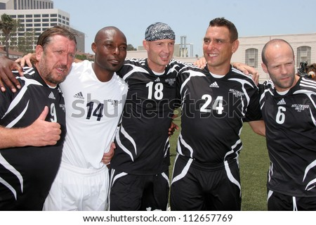 Steve Jones, Jimmy Jean-Louis, Frank Leboeuf, Vinnie Jones and Jason Statham at the Soccer for Survivors Celebrity Showcase Match. Beverly Hills High School, Beverly Hills, CA. 07-22-07 - stock photo