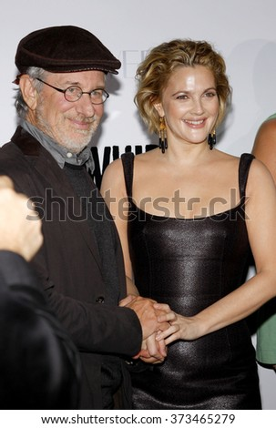 """Steven Spielberg and Drew Barrymore at the Los Angeles Premiere of """"Whip It"""" held at the Grauman's Chinese Theater in Hollywood, California, United States on September 29, 2009.   - stock photo"""