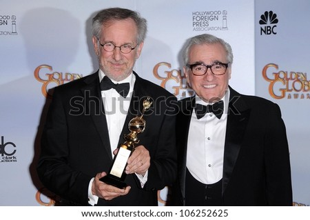 Steven Spielberg and Martin Scorsese in the press room at the 66th Annual Golden Globe Awards. Beverly Hilton Hotel, Beverly Hills, CA. 01-11-09 - stock photo