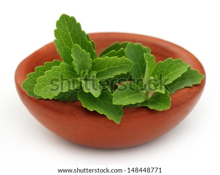 Stevia on a brown bowl over white background - stock photo