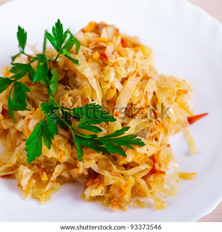stew cabbage decorated parsley - stock photo