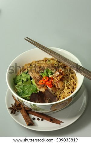Stew Duck Noodle in portrait shot