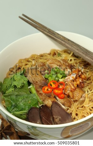 Stew Duck Noodle in portrait zoom shot