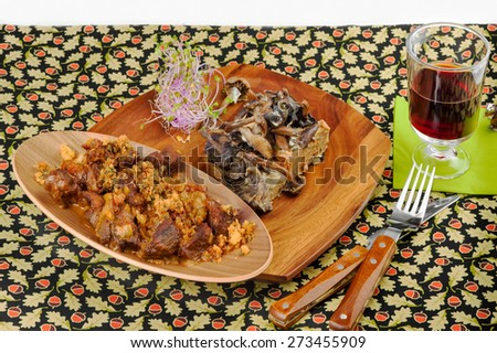 stew of wild boar with thyme and mushroom pie - stock photo