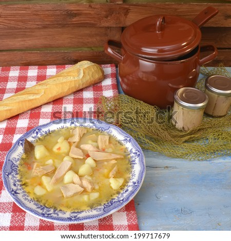 Stew potatoes and fish,albacore and potatoes, traditional Spanish ...