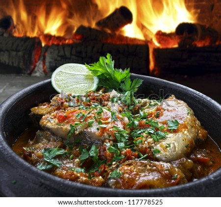 stew with fish - stock photo