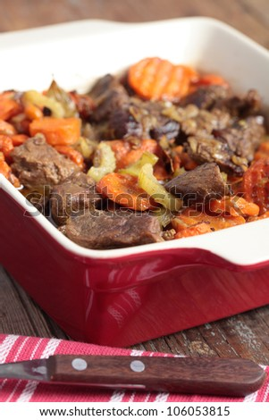 Stew with lamb meat, carrot, celery, and spices