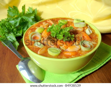stew with white beans, meat and vegetables