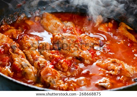 Stewed chicken with spices in a tomato sauce - stock photo