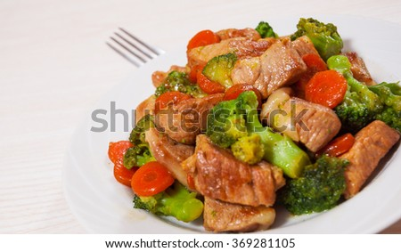 stewed meat with broccoli and carrot