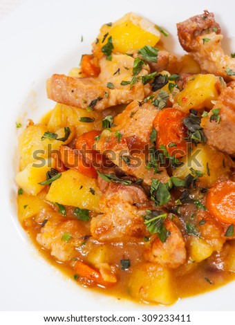 stewed meat with potatoes, onion and carrot - stock photo