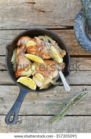 stewed rabbit in a pig-iron frying pan. style rustic. selective focus - stock photo
