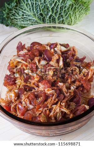 Stewed savoy cabbage with onions