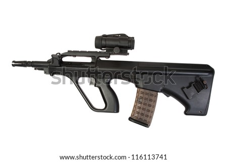 Steyer Aug assault rifle isolated - stock photo
