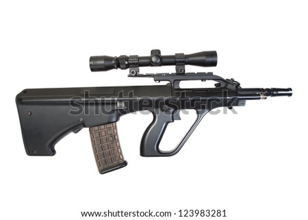 steyr aug assault rifle isolated on a white background