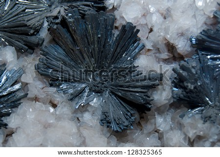 Stibnite Crystal Background - stock photo