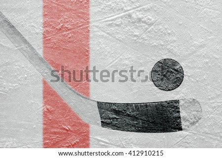 Stick and puck on the ice hockey rink. Concept - stock photo