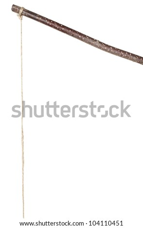 Stick and string isolated on white - stock photo