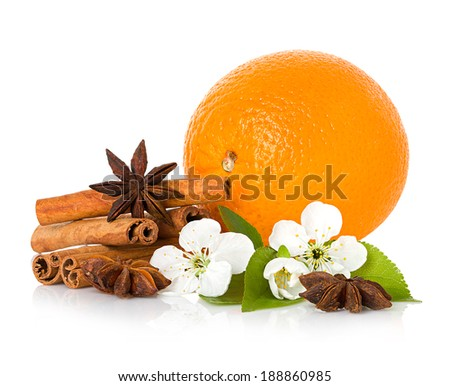stick cinnamon, anise star, branch flowers and orange fruit isolated - stock photo