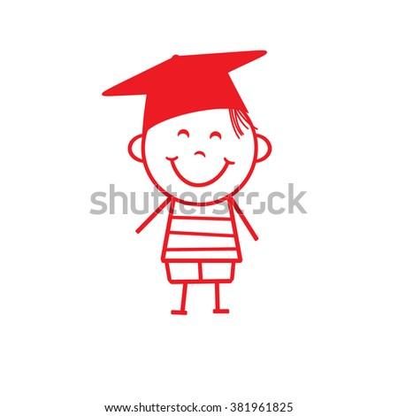 Stick Figure Boy - Graduation - stock photo