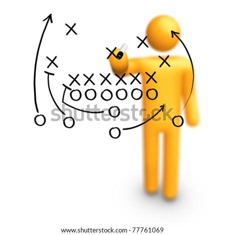 Stick Figure Coach American football Strategy - stock photo