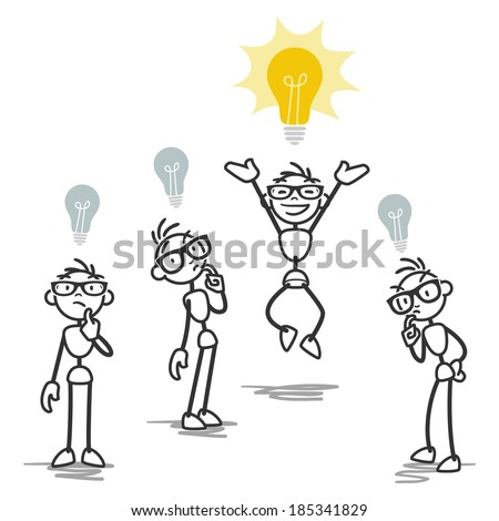 Stick figure illustration: One stick man having bright idea while others don't. - stock photo