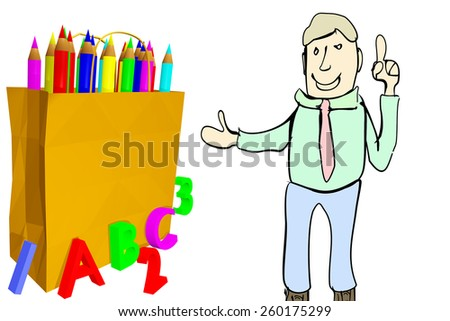Stick figure shows grocery bag for school - stock photo