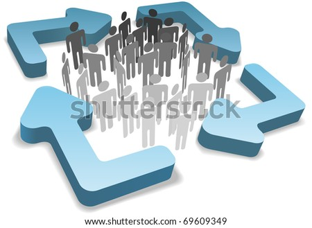 Stick figure symbol people inside four rounded 3D process management system or recycle arrows - stock photo